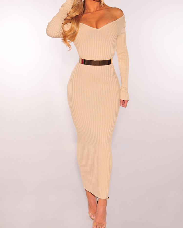 ivrose / Off Shoulder Ribbed Slinky Maxi Dress