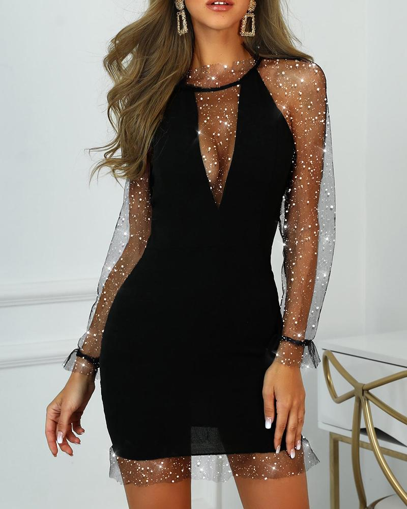 Mesh Sequins Bodycon Party Dress фото