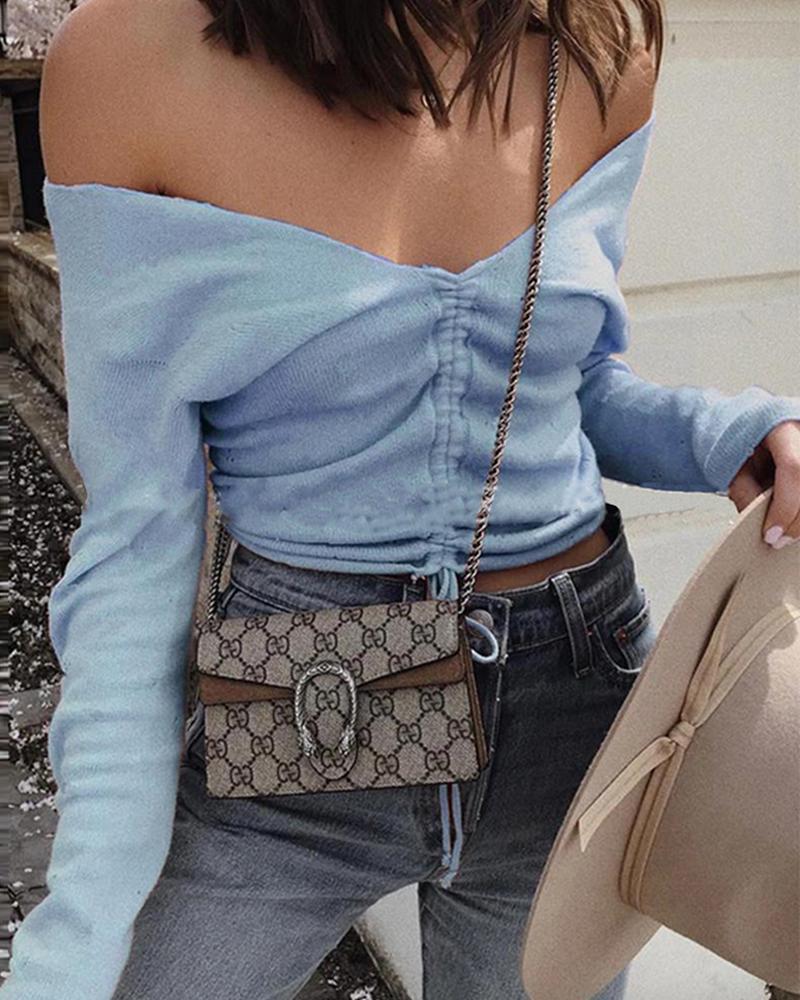 Off Shoulder Casual Knit Top фото
