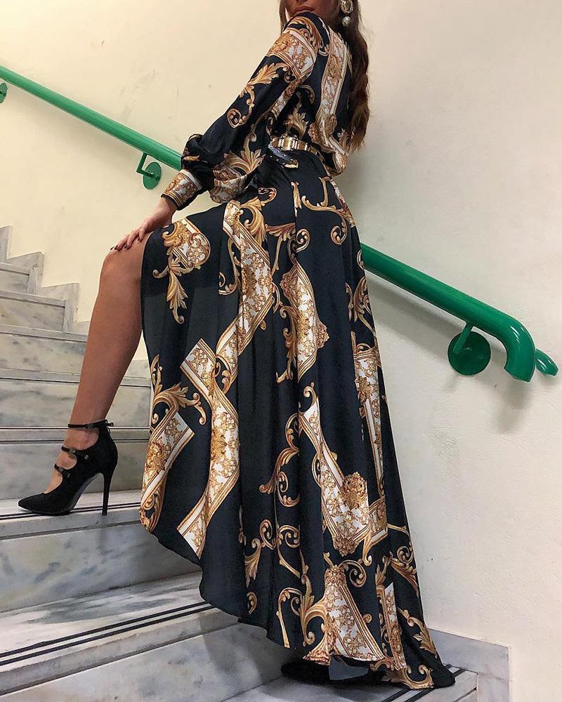 Baroque Print Lantern Sleeve Maxi Dress