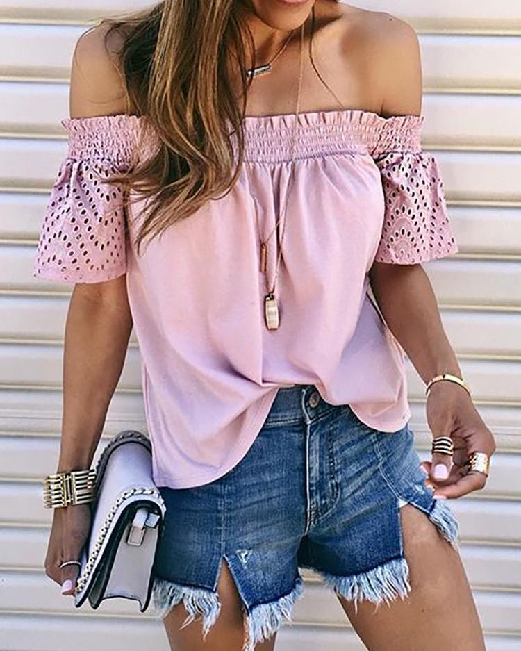 Solid Shirring Off Shoulder Hollow Out Top фото