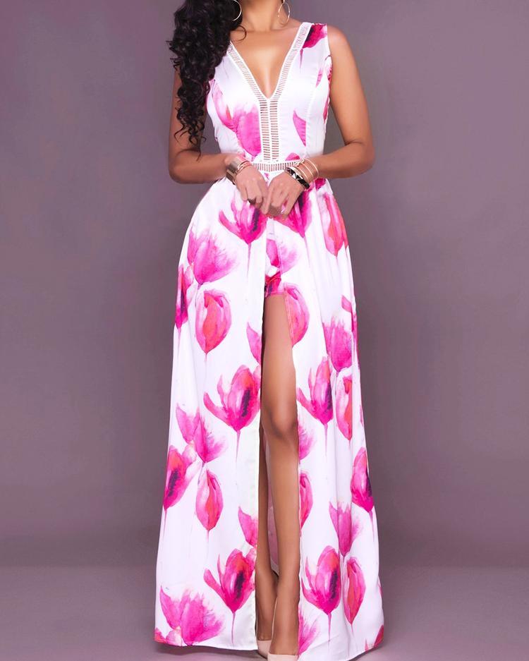 ivrose / Floral Impresso Culotte Design Romper