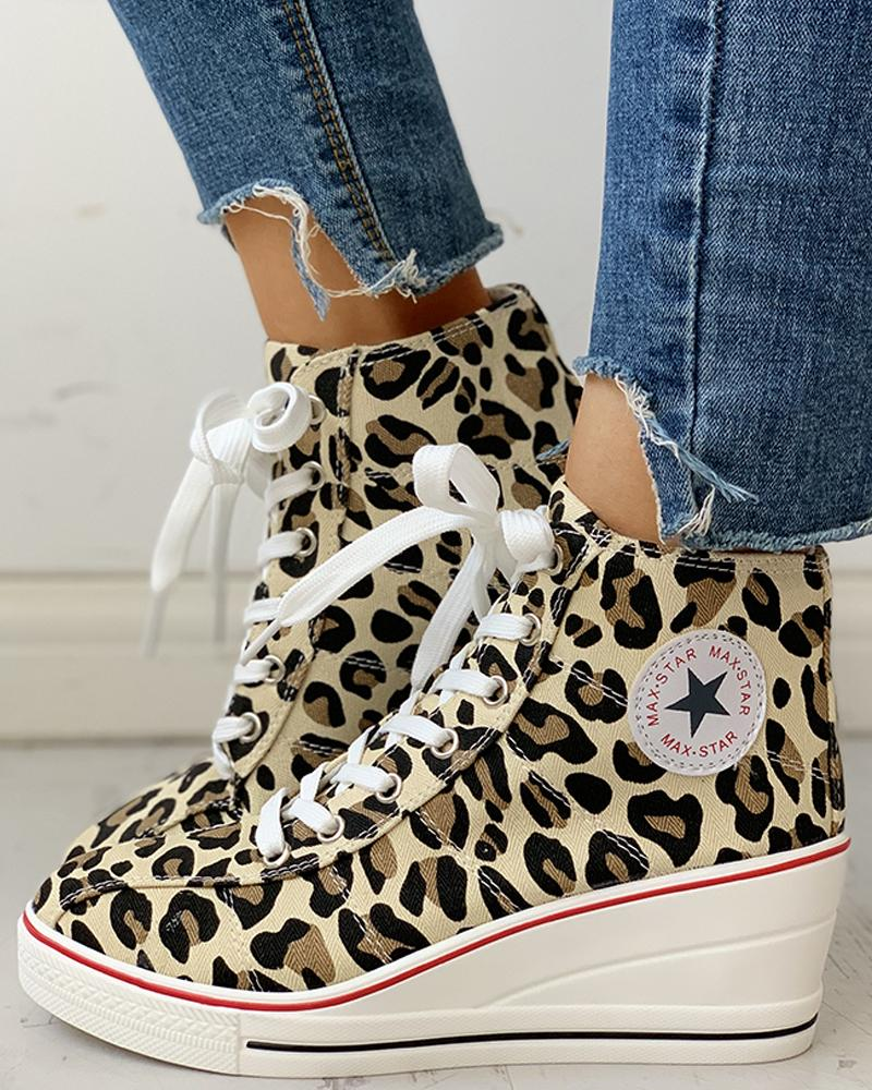 chicme / Leopard Lace-Up Wedges Shoes