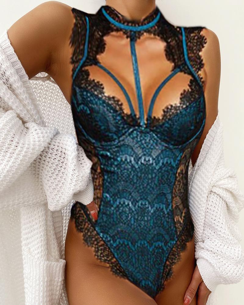 Alluring Lace Mesh Padded Lingerie Bodysuit