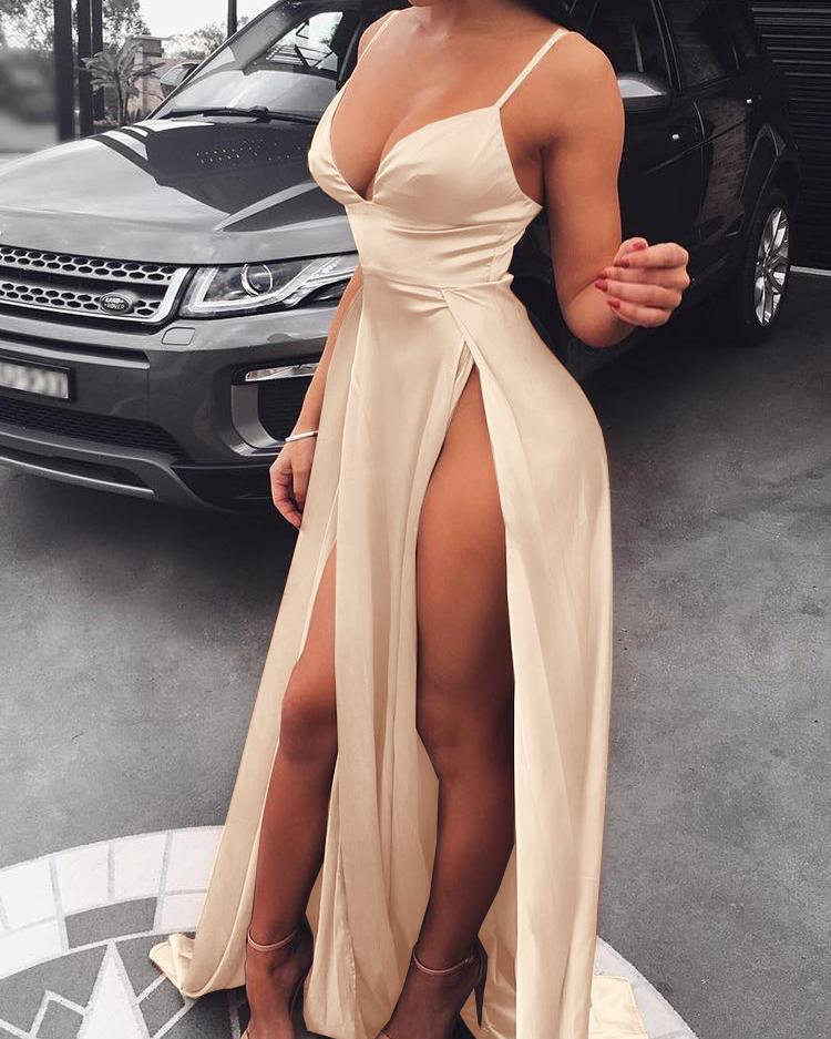 Spaghetti Strap High Slit Maxi Party Dress - Nude