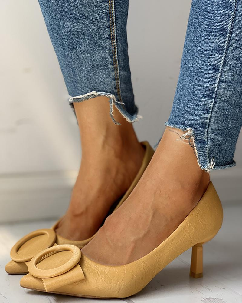 chicme / Solid Pointed Toe Hole Embellished PU Thin Heels