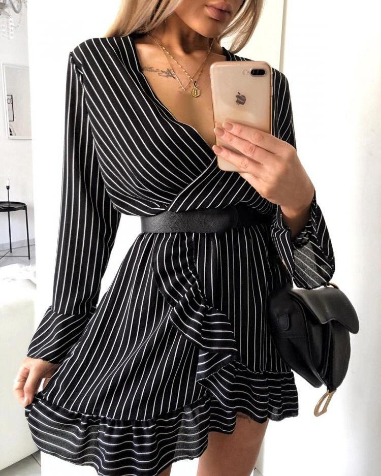 Ruffle Hem Striped Wrap Dress