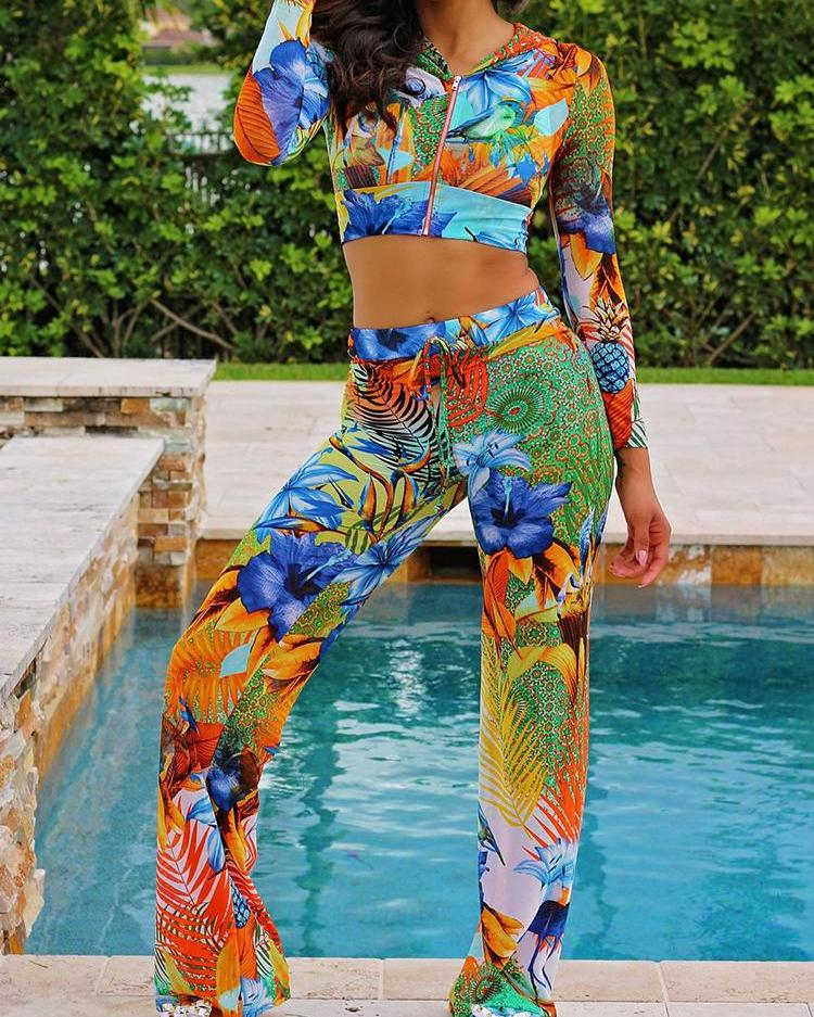 Floral Print Zipper Hooded Crop Top & Pants Set