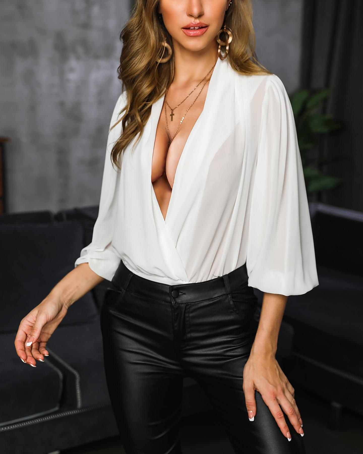 V-Neck Long Sleeve Ruched Wrap Bodysuit