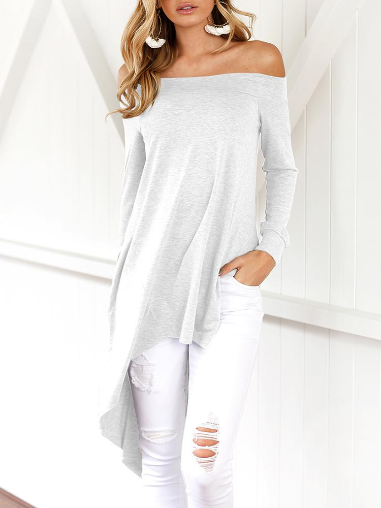 Asymmetric Trim Off Shoulder Casual Blouse - White