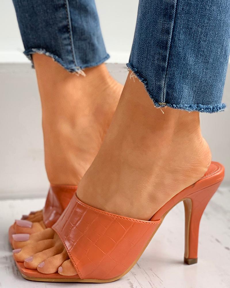 chicme / Square Toe Post Heel Mule Sandals
