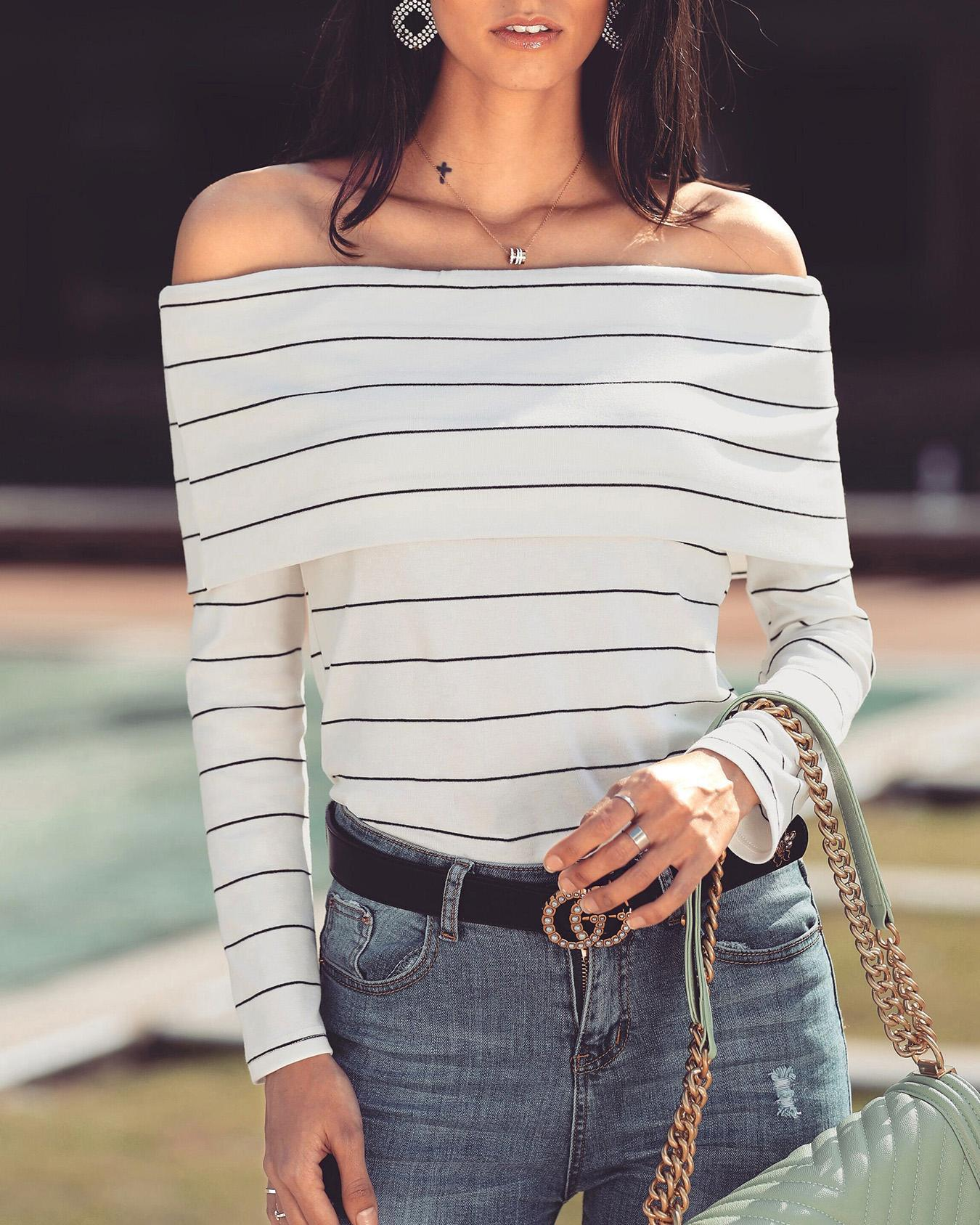 Off Shoulder Fold-Over Striped Casual Blouse, White