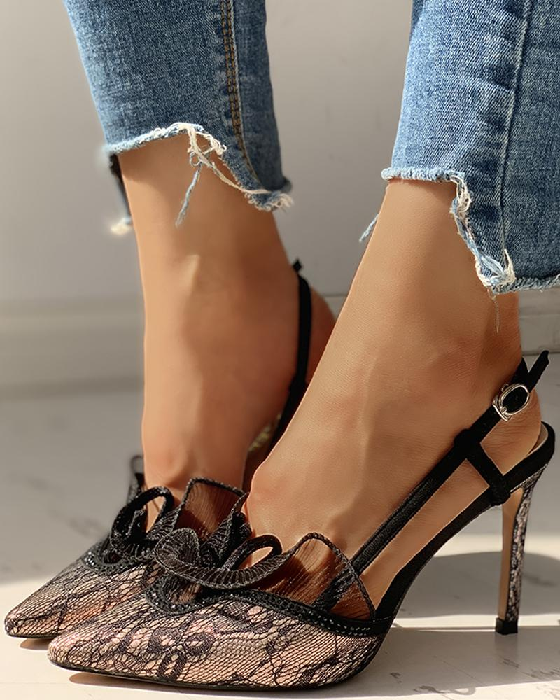 Pointed Toe Lace Insert Ankle Buckled Thin Heeled Sandals, Champagne
