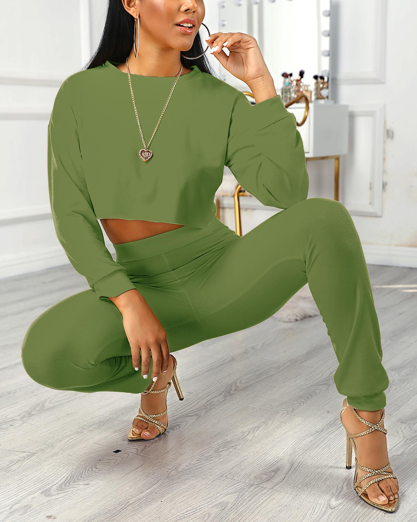 Solid Round Neck Long Sleeve Top & Pants Sets фото