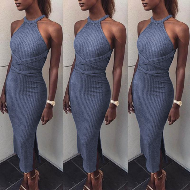 Hot Bandage Split Halter Bodycon Maxi Dress