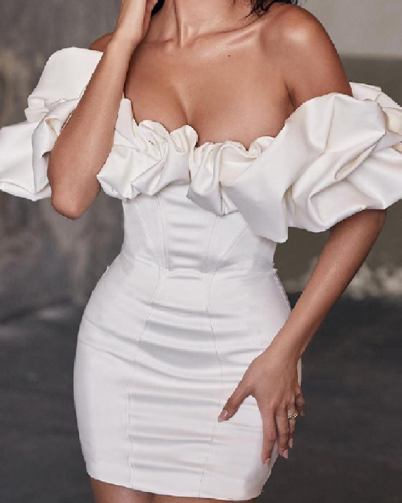 Solid Ruffles Off Shoulder Bodycon Dress, White