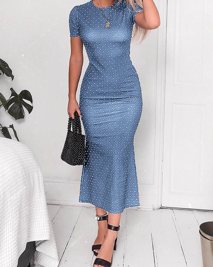 Polka Dots Short Sleeve Oversized Dress фото