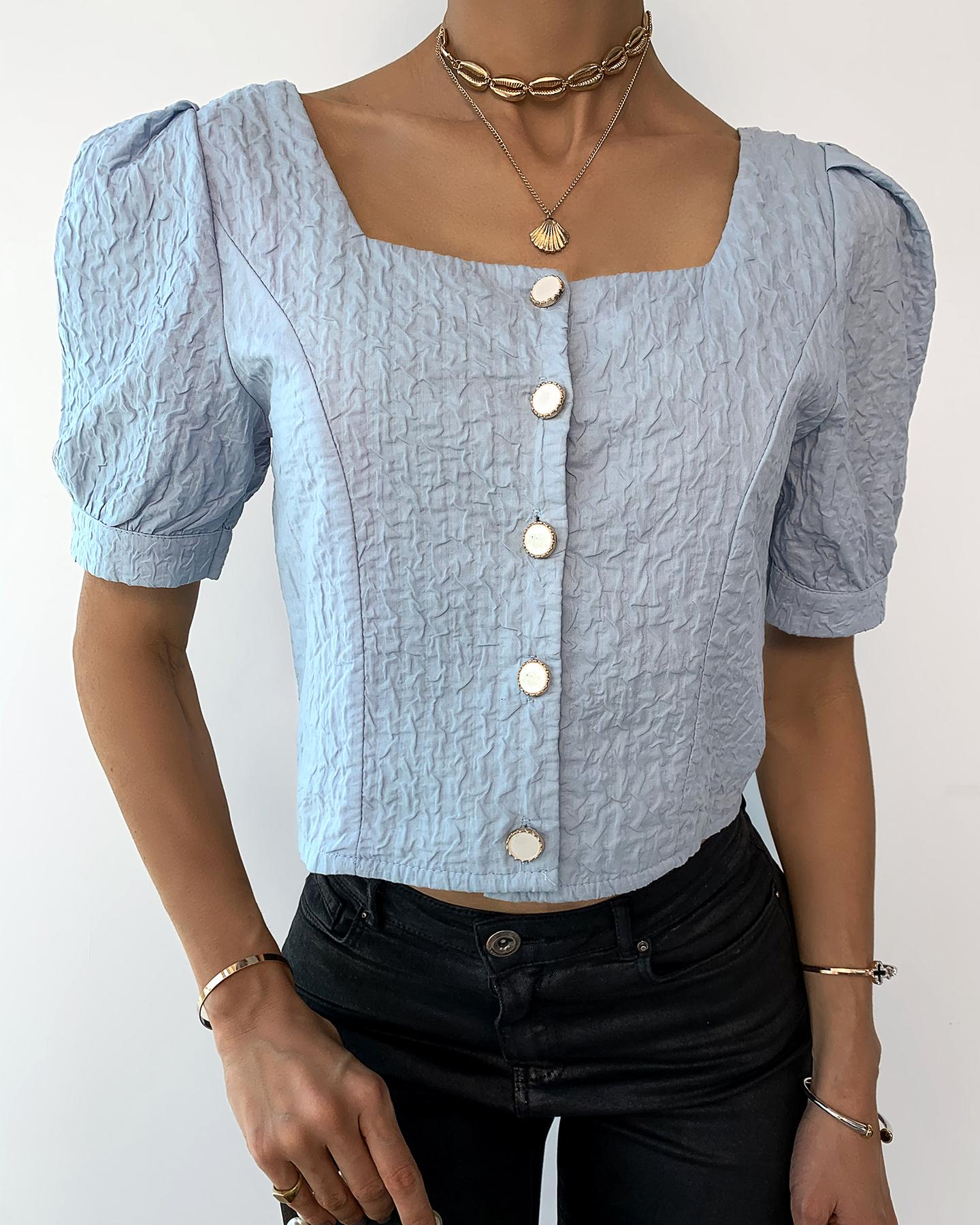 Button Design Ruched Puff Sleeve Crop Top фото