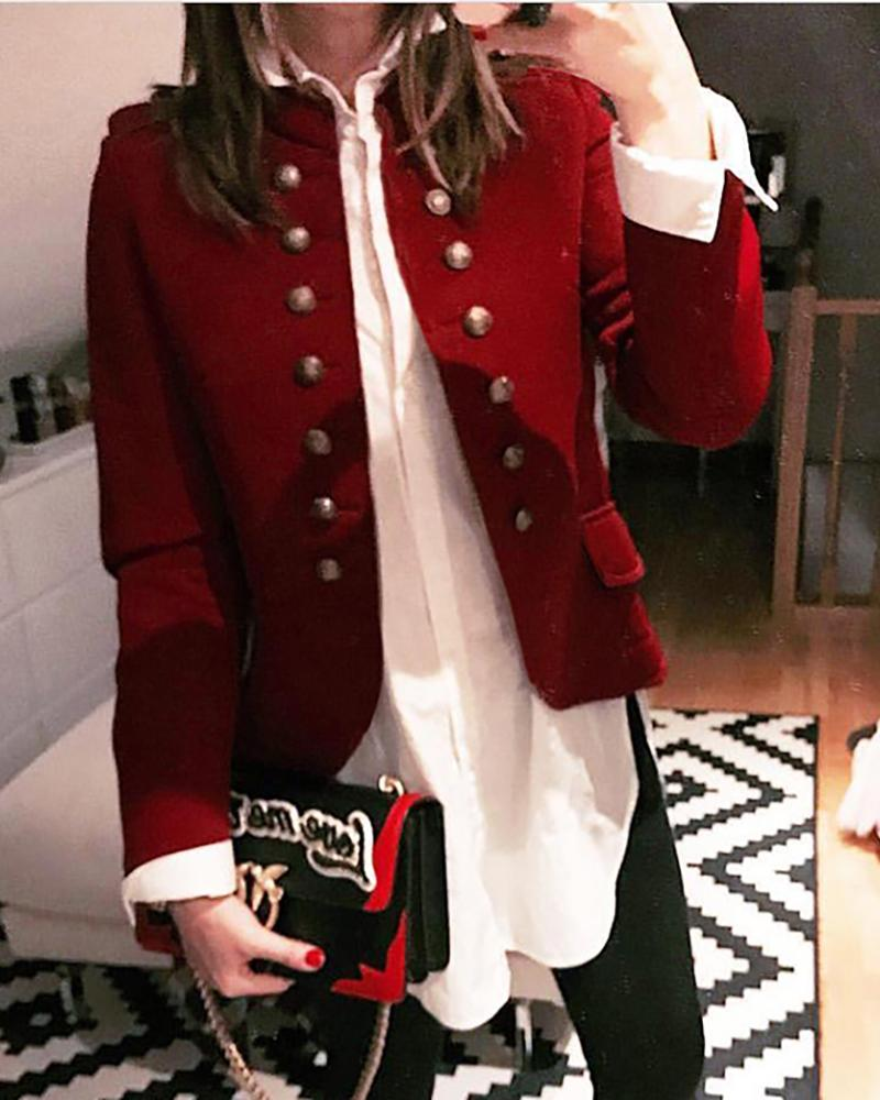 Casual Long Sleeve Button Blazer Coat фото