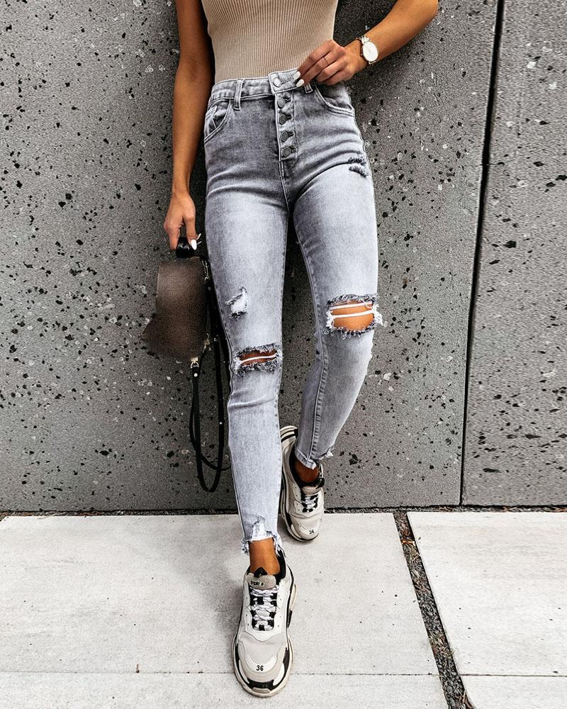 High Waisted Cut Out Ripped Casual Jeans фото