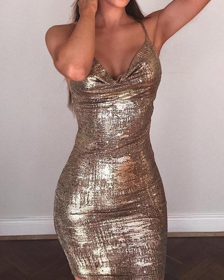 Shiny Drape Neck Spaghetti Strap Bodycon Dress