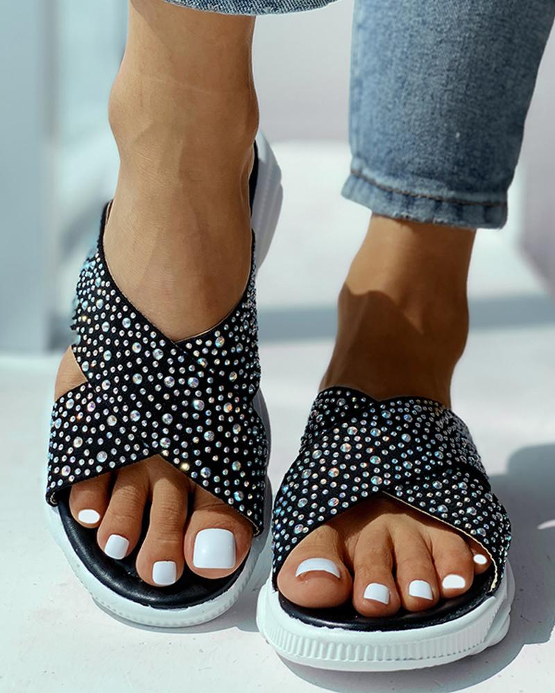 Open Toe Studded Flatform Platforms Sandals фото