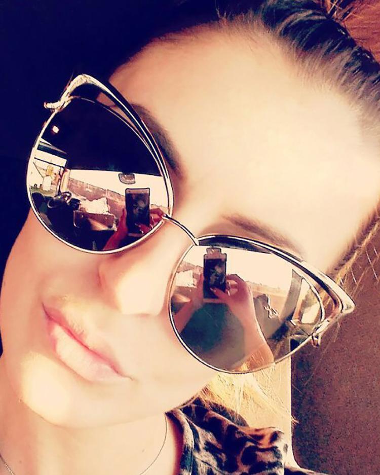 Fashion Reflactive Cat Eye Lens Sunglasses - Silver фото
