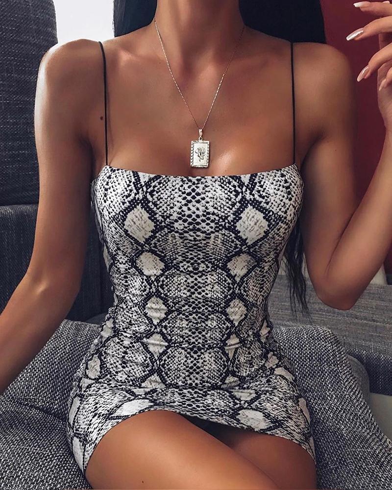 boutiquefeel / Vestido con correa de espagueti de piel de serpiente