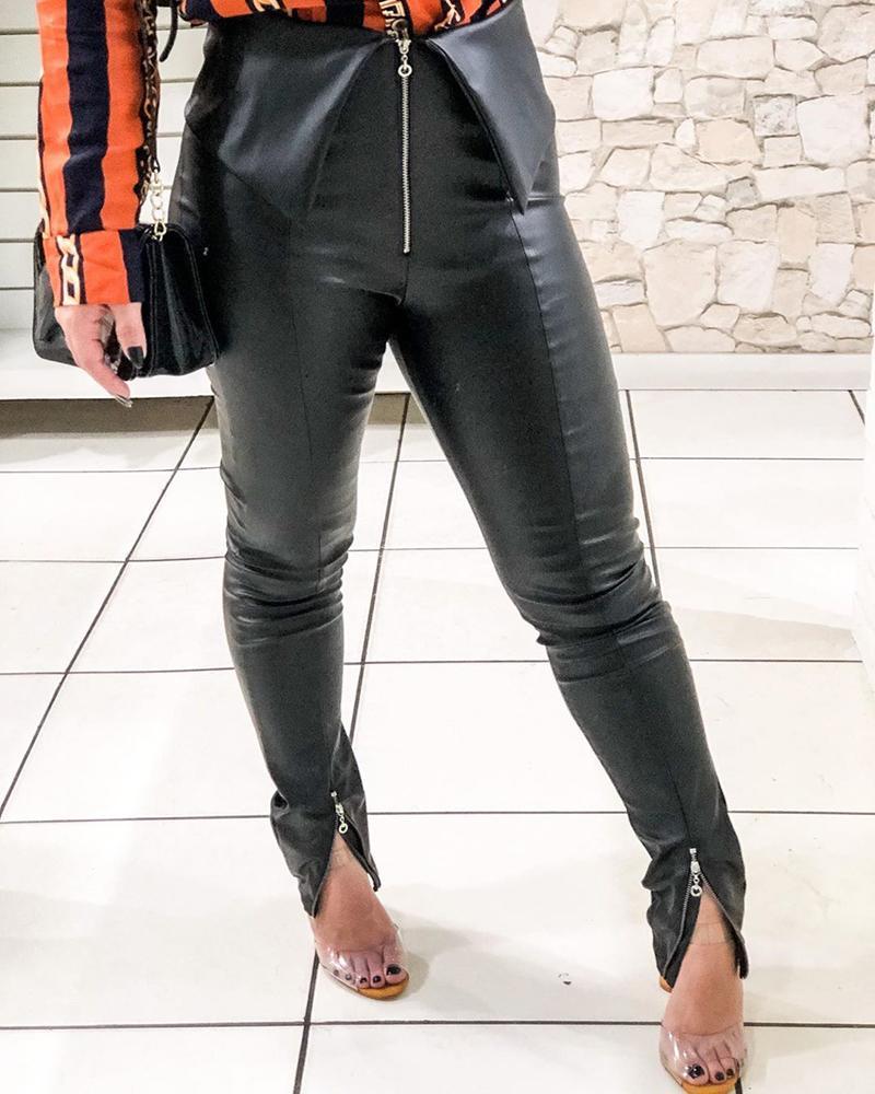 ivrose / Calças de couro PU com fenda e cintura alta