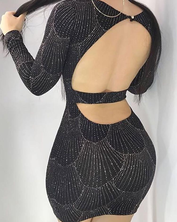 ivrose / Vestido ajustado con espalda abierta y estampado en caliente brillante