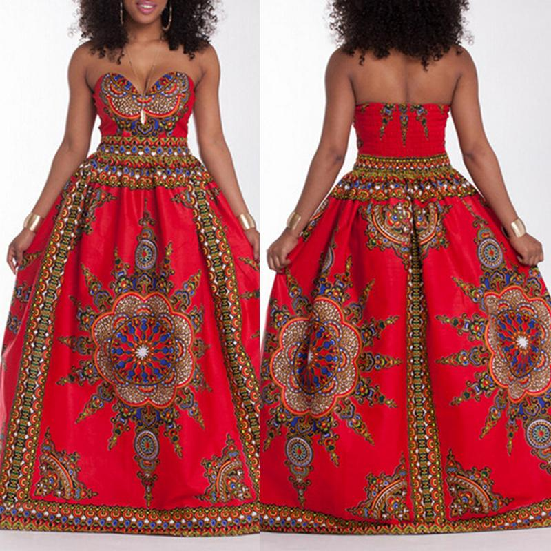 Women's Sexy V Neck Printing Maxi Dress Sleeveless Floor-length Wrapped Chest Casual Dress Beach Holiday Dress, Red