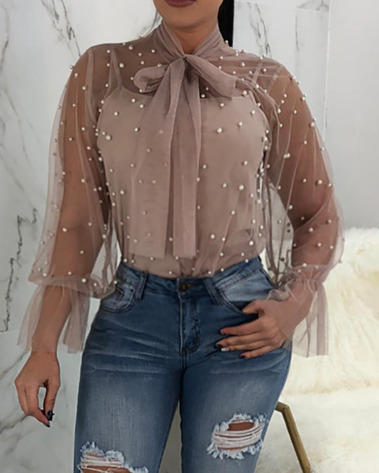 Sexy Tie Neck Beading Embellished Sheer Mesh Blouse