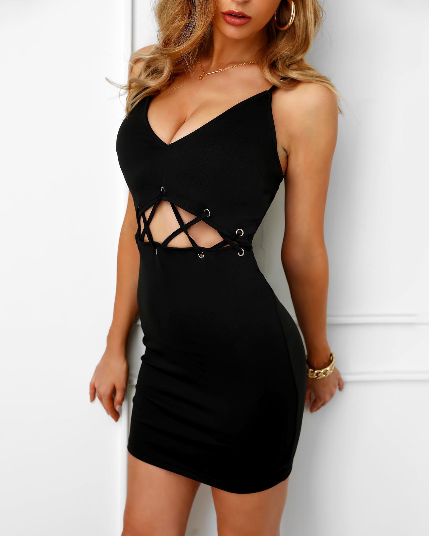 Spaghetti Strap Eyelet Lace-Up Bodycon Dress, Black