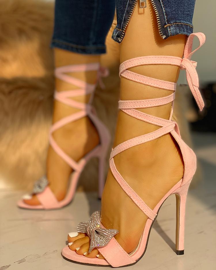 Glitter Bow Crisscross Thin Heeled Sandals