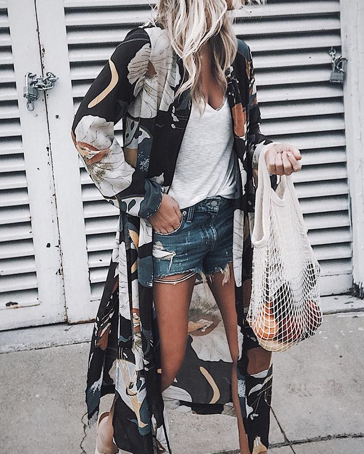 Floral Print Slit Open Front Long Cardigan