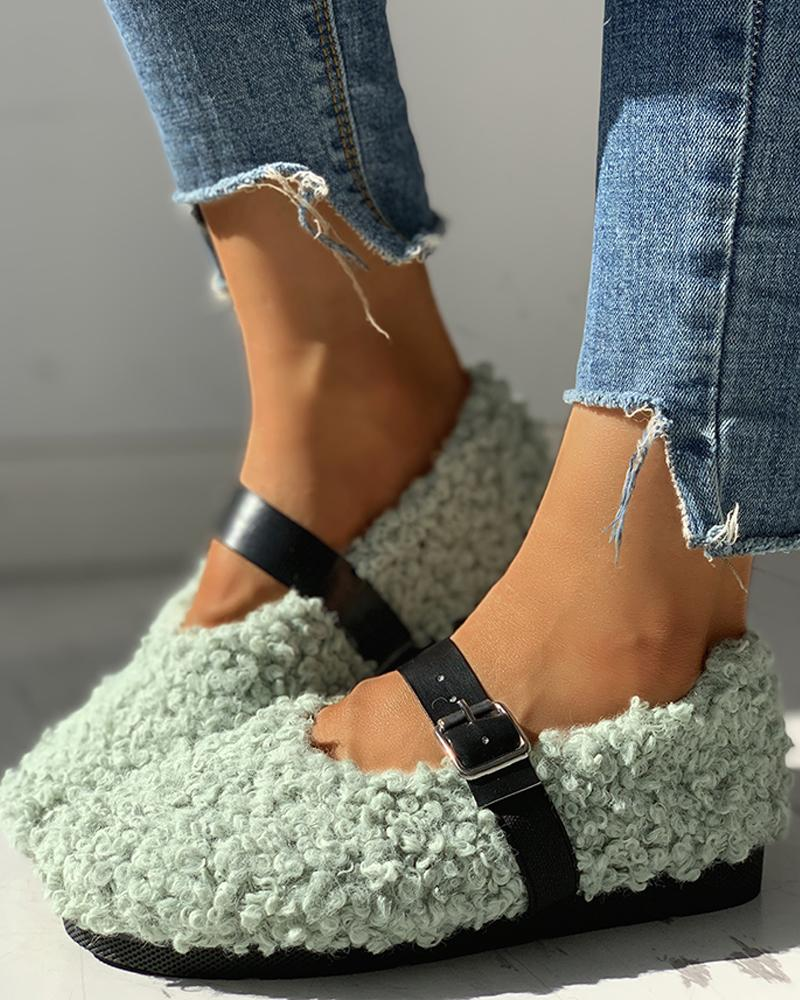 chicme / Buckled Solid Flat Shoes