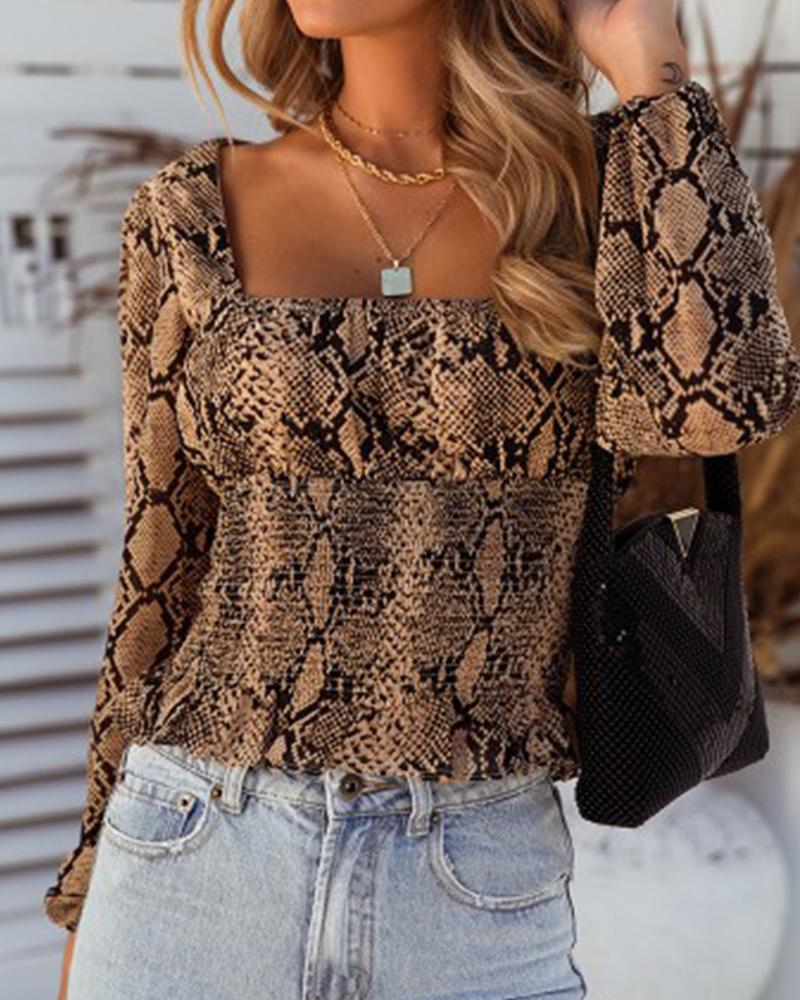Snakeskin Square Neck Casual Blouse фото