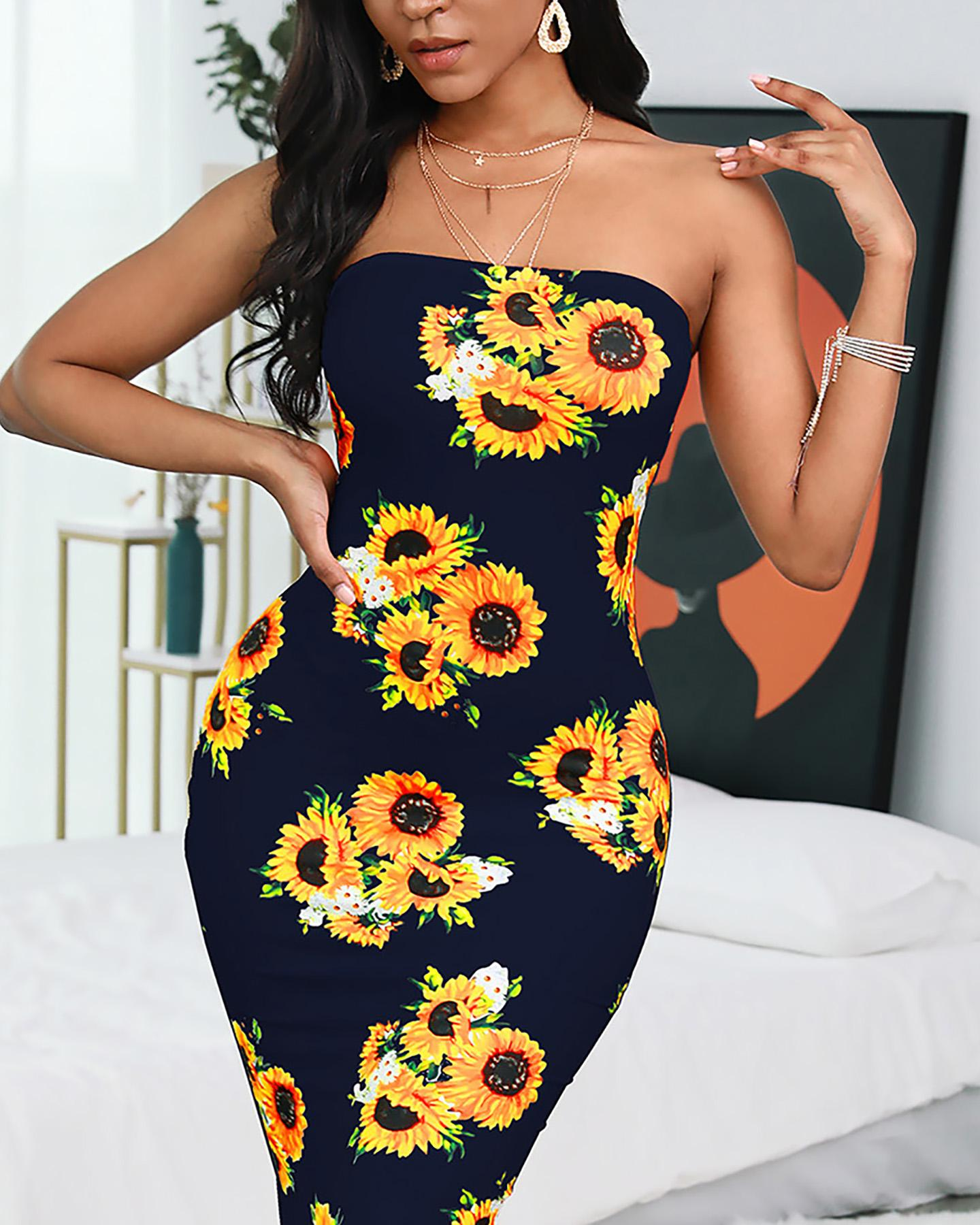Sunflower Print Bandeau Dress фото