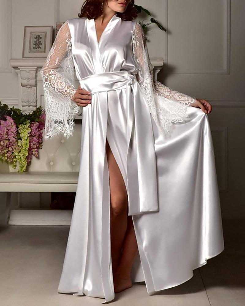 Lace Trim Long Sleeve Knotted Robe фото