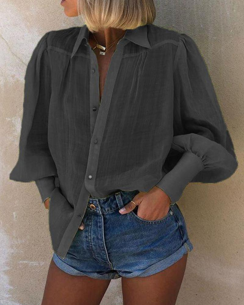 Mutton Sleeve Button Detail Blouse фото