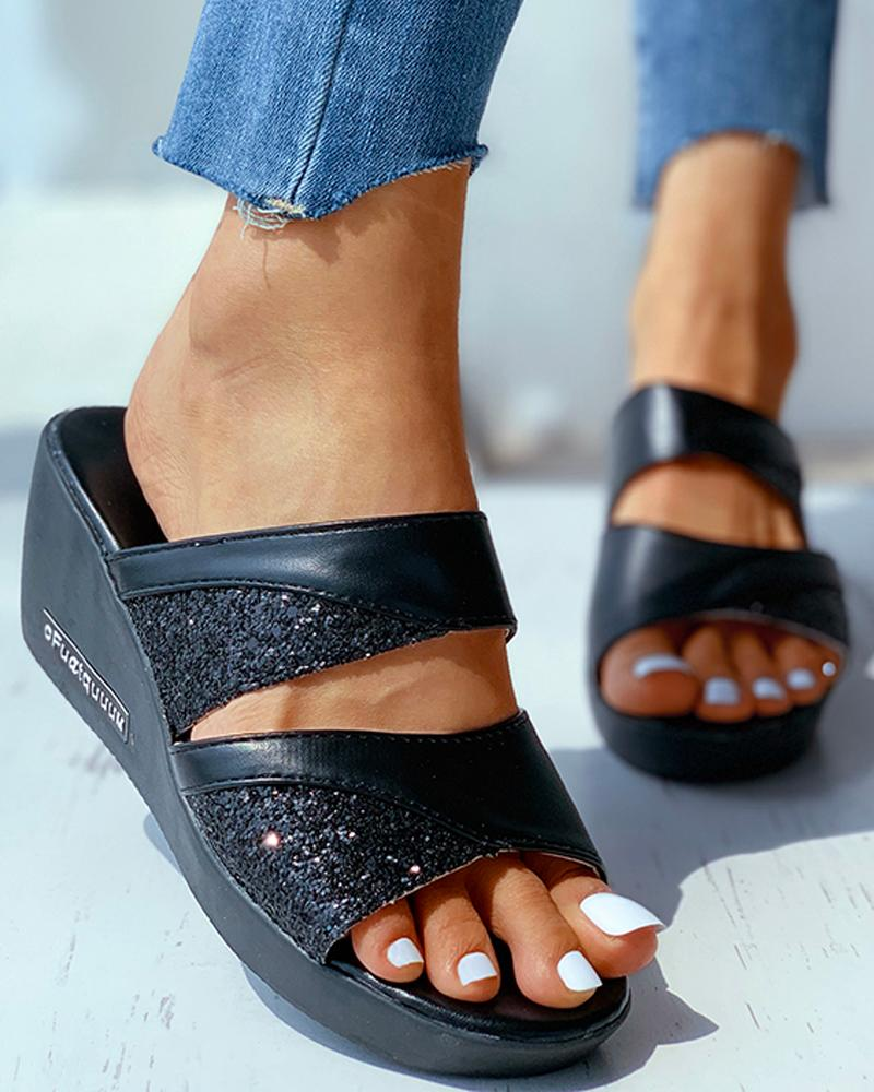 chicme / Studded Open Toe Heeled Sandals