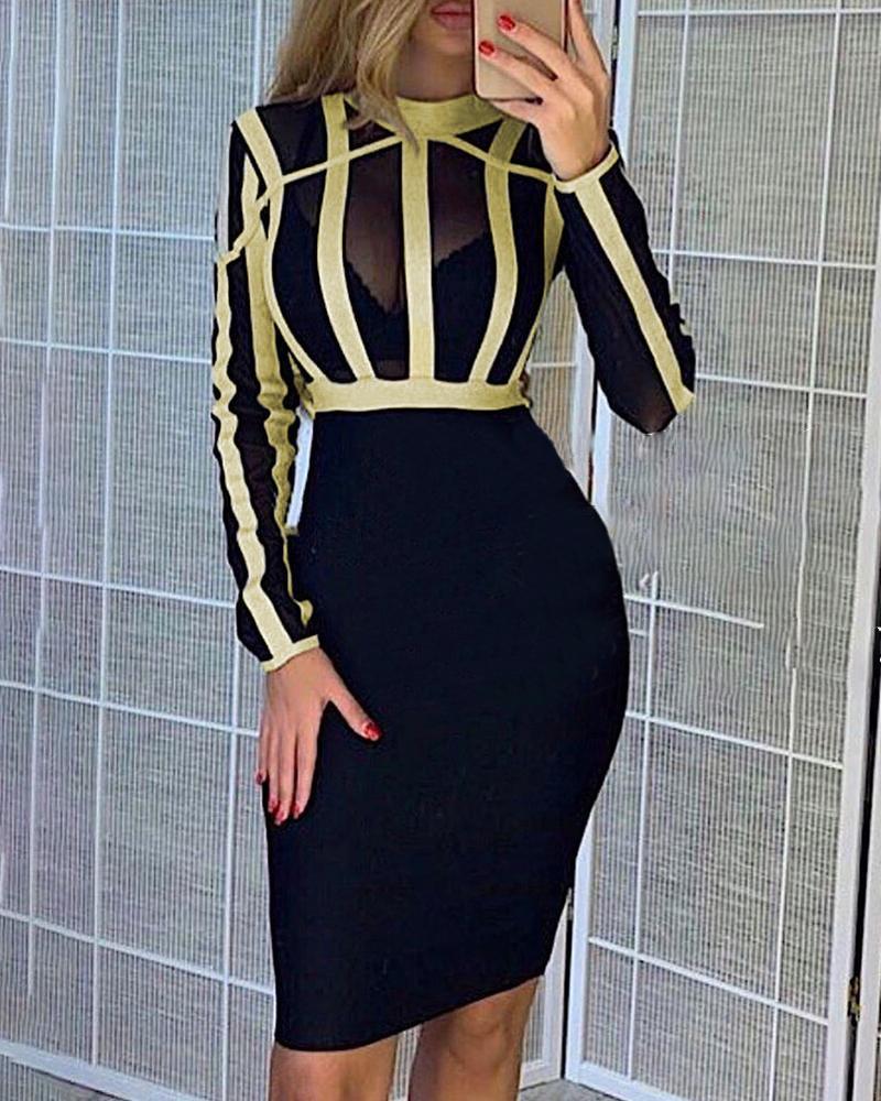 ivrose / Vestido ajustado a rayas de malla semi transparente