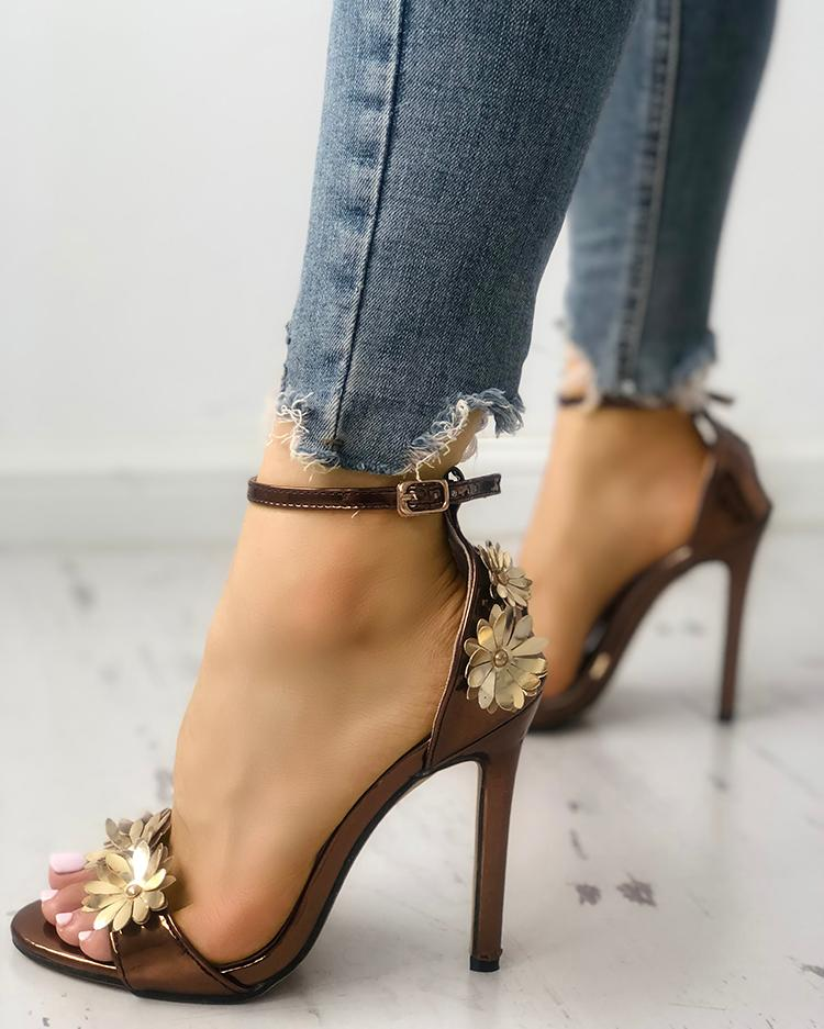 Flower Embellished Ankle Strap Thin Heeled Sandals