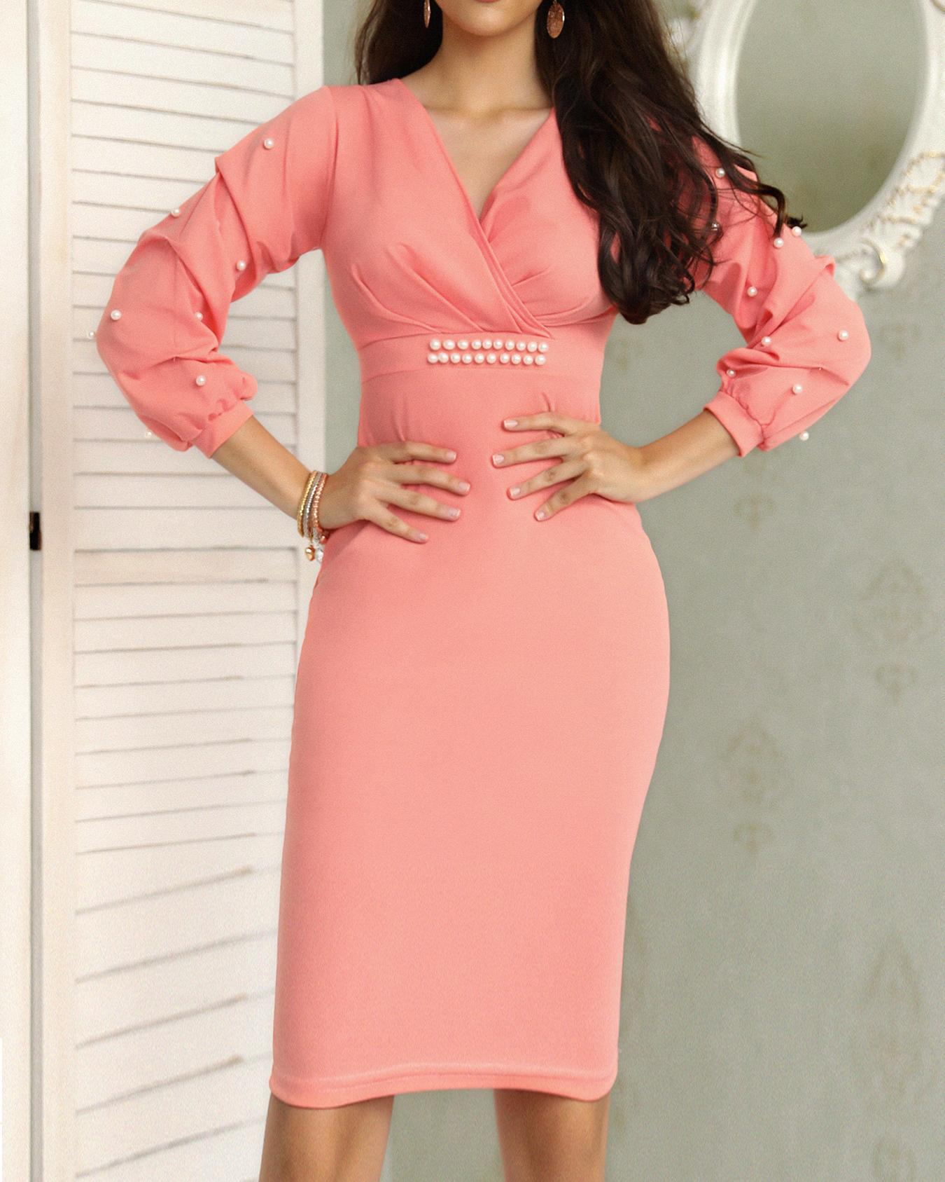 Beading Puff Sleeve Ruched Wrap Bodycon Dress
