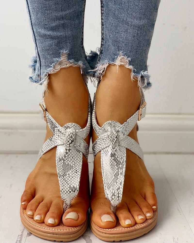 Toe Post Glitter Crisscross Flat Sandals фото