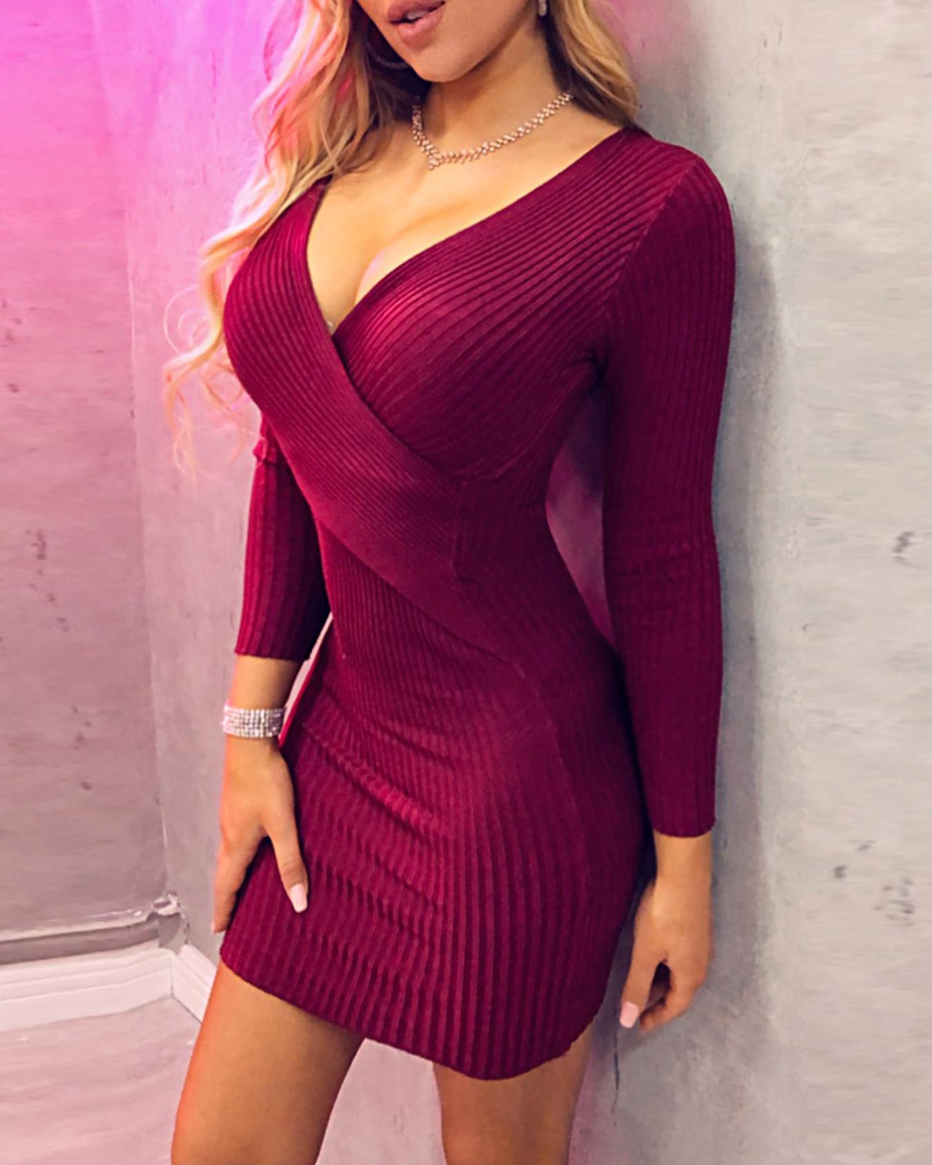 Ribbed Crisscross Front Bodycon Dress, Red