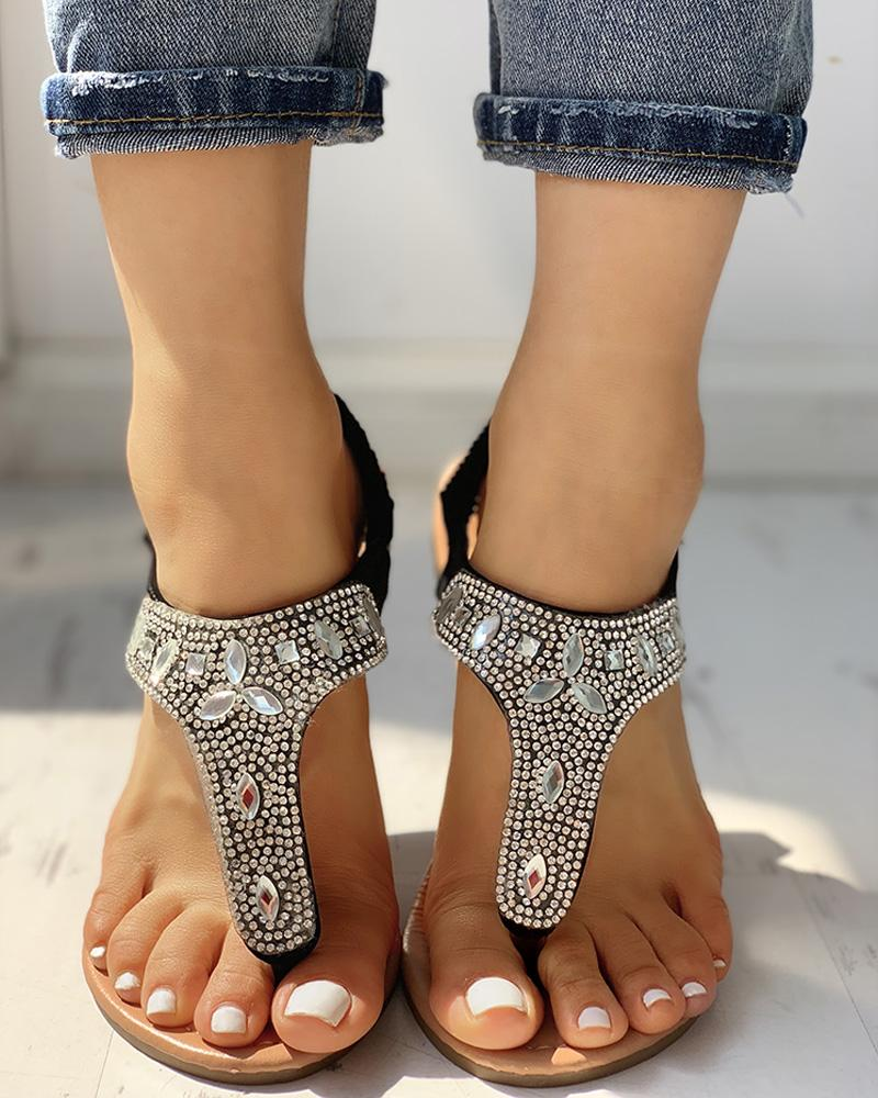 Studded T-Strap Casual Flat Sandals фото