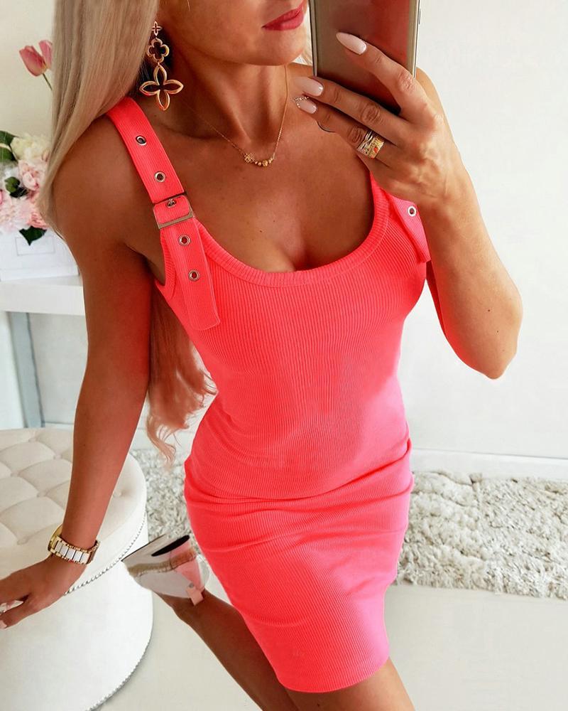 boutiquefeel / Vestido ajustado con hebilla y ojal con correa gruesa y cuello en U
