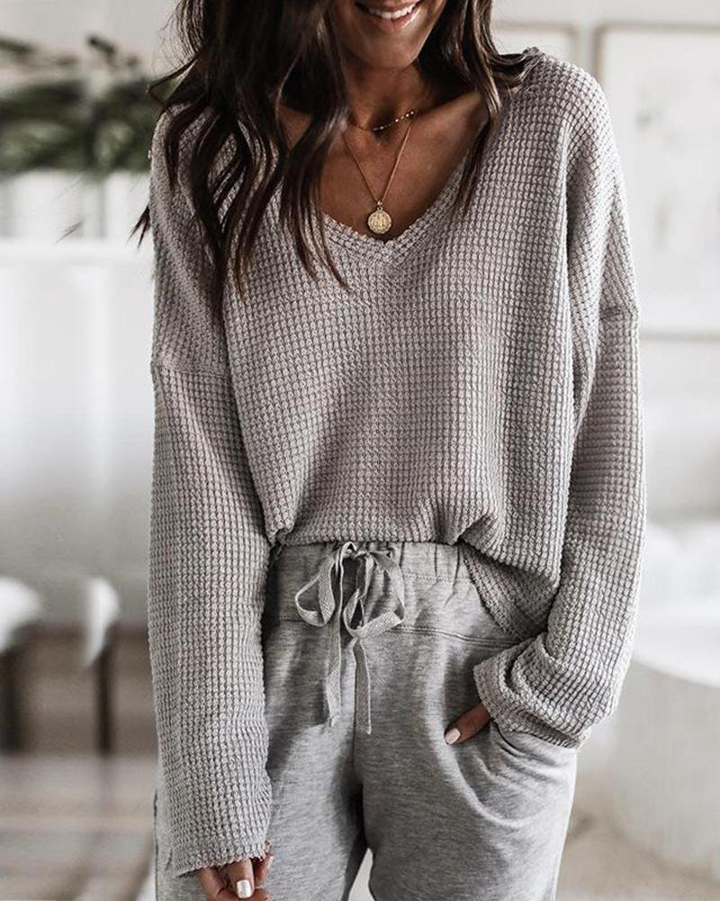 Loose V Neck Knit Tops фото