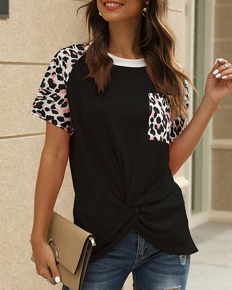 Leopard Print Casual Twisted T-shirt фото